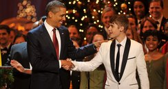 Justin bieber with Barack Obama
