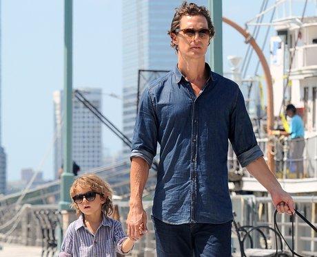 Matthew McConaughey and son Levi walk around Tribeca NYC