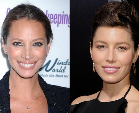 Celebrity look-a-likes Christy Turlington and Jess