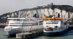Ferries moored at Dover