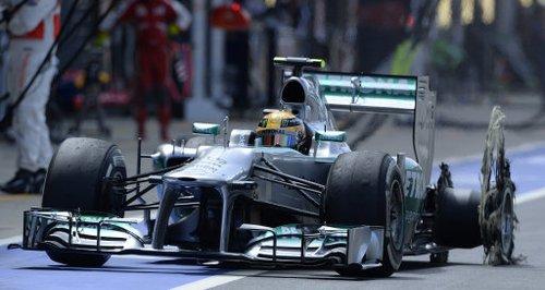 The damage to Lewis Hamilton's car