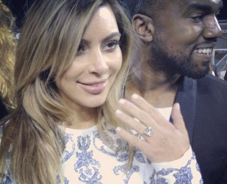 Kim Kardashian shows off her engagement ring