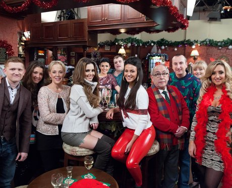 Cheryl Cole on Coronation Street set with the cast