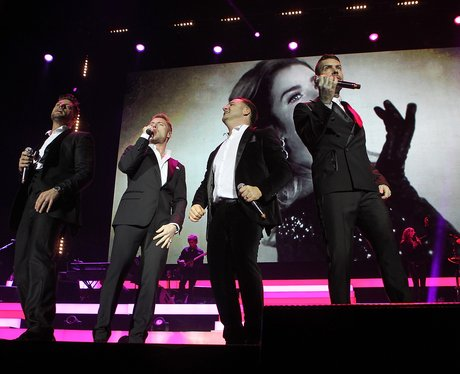 Keith Duffy, Ronan Keating, Mikey Graham and Shane Lynch on stage