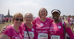 Four women in their Race for Life t-shirts