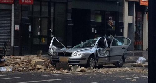 Car crushed in Holborn