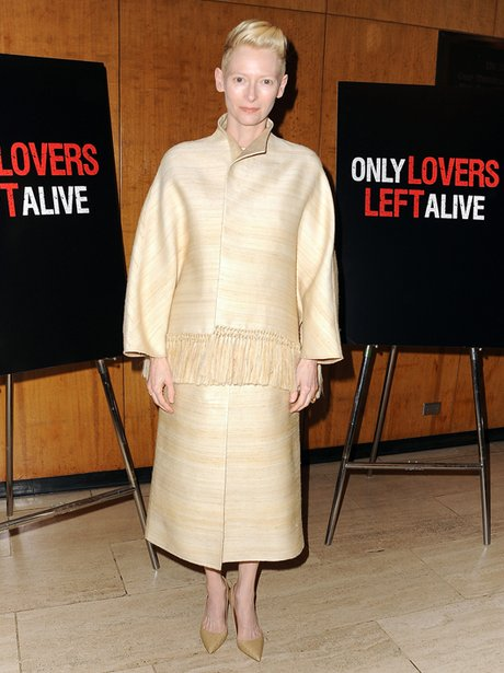 Tilda swinton with cropped blonde hair