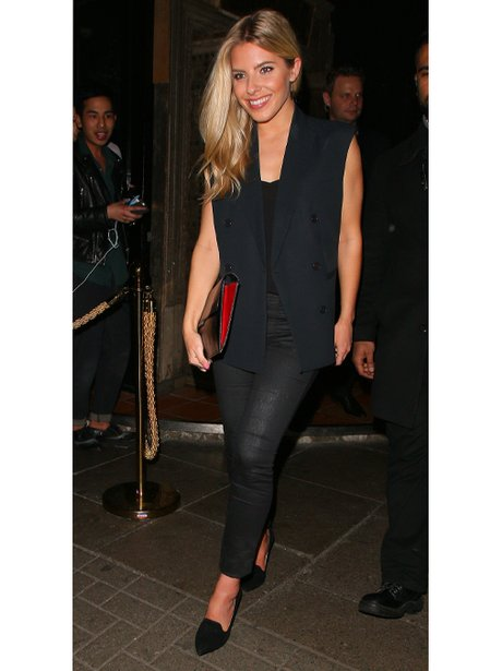 Mollie King in leather trousers