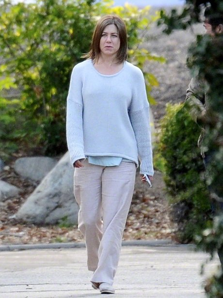 Jennifer Aniston on set for film Cake