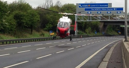 air ambulance bedfordshire m1 crash