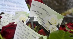 Tribute cards and flowers for Gleision miners