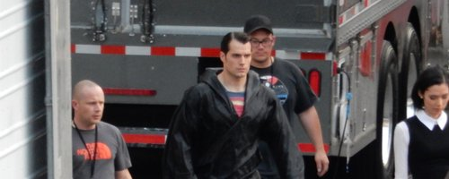 Henry Cavill on Set 'Batman v Superman'