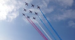 RAF Red Arrows flying over Cardiff Bay