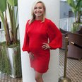 Hayden Panettiere pregnant in a red dress