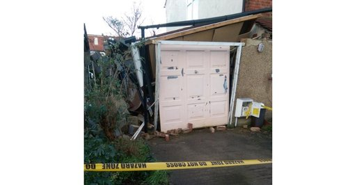 Garage damaged by Harrow mini tornado
