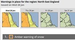 Amber warning North East
