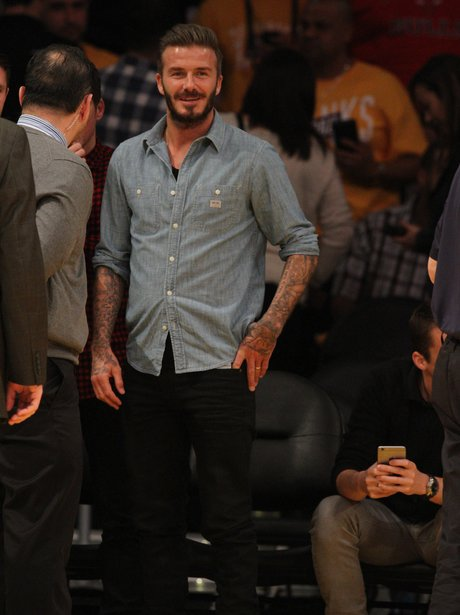 David Beckham comes out to see the Lakers play