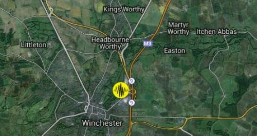Winchester earthquake map