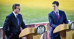 David Cameron and Nick Clegg at Millennium Stadium