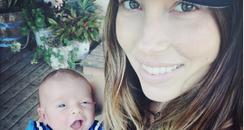 Jessica Biel holding her son