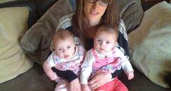 Emma Clarke with her twins