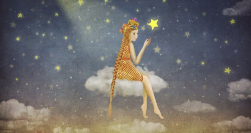 star lady sitting on cloud cartoon