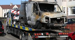 A van that was set on fire in Stepps