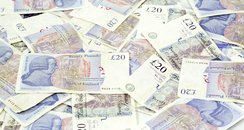 £20 notes money stock image
