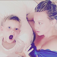 Hilary Duff and her son in bed