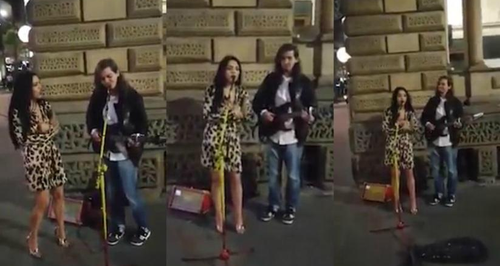 Incredible Moment Girl On A Night Out Joins Busker